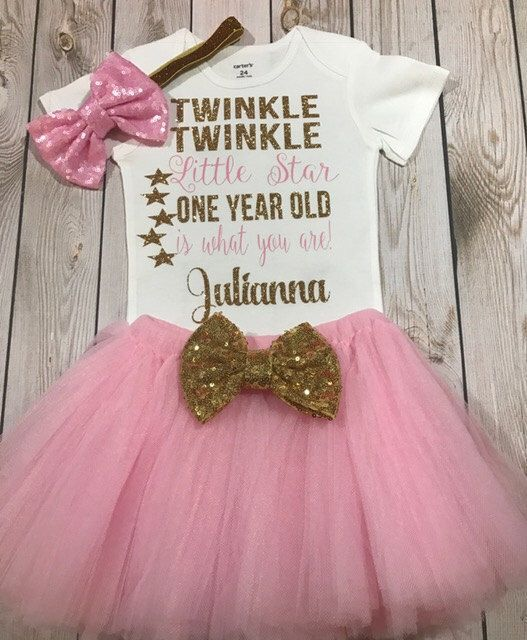 First birthday outfit girl, twinkle twinkle little star first birthday girl, first birthday tutu outfit girl, baby girl clothing, by MelihsBoutique on Etsy https://www.etsy.com/listing/504516592/first-birthday-outfit-girl-twinkle