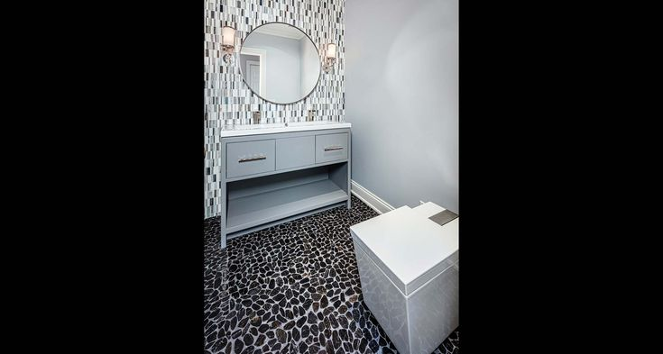 Hemingway Construction | Gallery of Bathrooms | Modern Bathroom | Mosaic | Rocks (Floor)