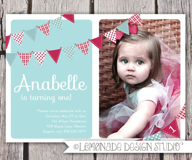 First Birthday Invitation Bunting Flags Banner Photo Printable Invite - Baby Blue and Red - 1 Year Old or 2 Year Old - Second Birthday. $14.00, via Etsy.