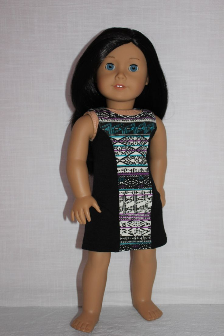18 inch doll clothes, Ascot dress,black tribal print dress ,sleeveless dress, black fitted dress, american girl, Maplelea by UpbeatPetites on Etsy https://www.etsy.com/listing/228503439/18-inch-doll-clothes-ascot-dressblack