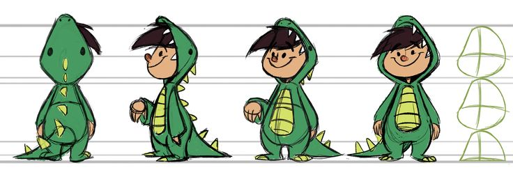 Character Turnaround for the Dinosaur Boy. For the film, My Brother the Dinosaur, done by my friend, Katie!