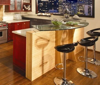 Contemporary Kitchen Island Knee Wall Peninsula Google Search Pinterest With Inspiration
