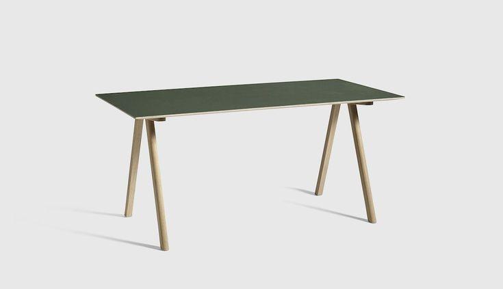 CPH10 Desk Oak Matt Lacquer L160 x W80 x H74 Matt Lacquer plywood edge Green linoleum tabletop - HAY