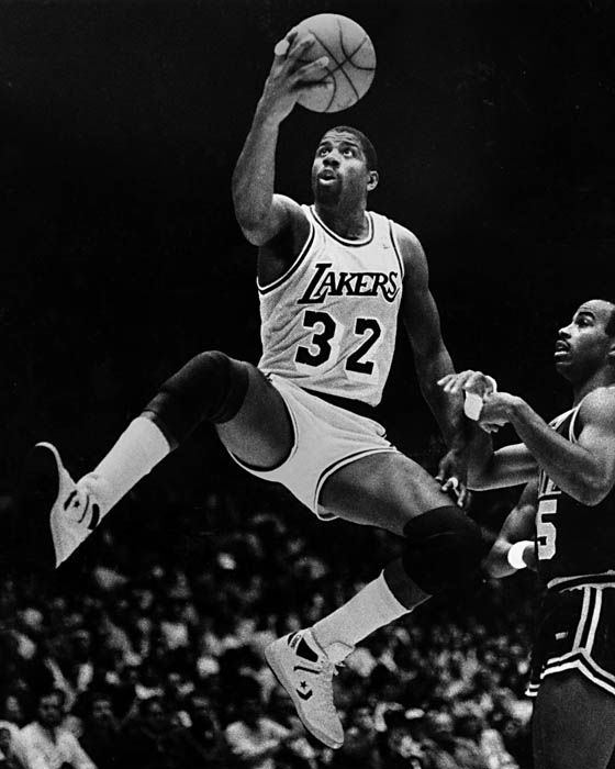 "Earvin ""Magic"" Johnson - Showtime.  5× NBA champion, 3× NBA Finals MVP  3× NBA MVP, 12× NBA All-Star, 2× NBA All-Star Game MVP, 9× All-NBA First Team"