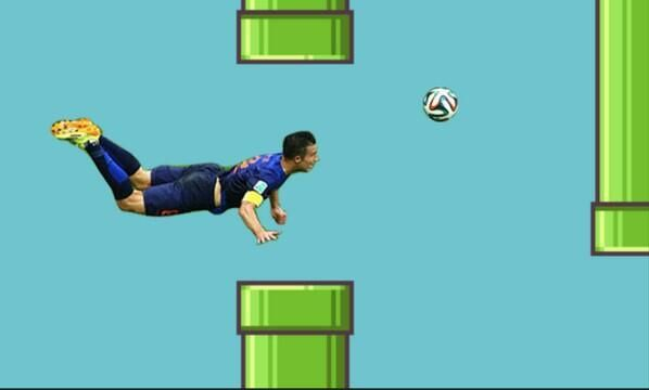 The Dutch striker Robin van Persi becomes a flappy bird Meme!