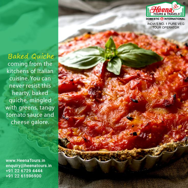Baked Quiche..!! Coming from the kitchens of Italian cuisine. You can never resist this hearty, baked quiche, mingled with greens, tangy tomato sauce and cheese galore.