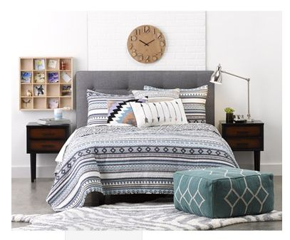 Levtex 'Sierra' Reversible Quilt & Hamper Set  A stylish geometric print lends a touch of Southwestern style to a pretty channel-stitched quilt accompanied by a pair of coordinating shams and a laundry hamper printed with an amusing schedule.  #picsandpalettes #nordstrom