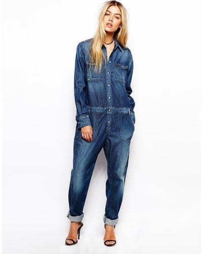 Pepe Jeans | Blue Denim Jumpsuit | Lyst