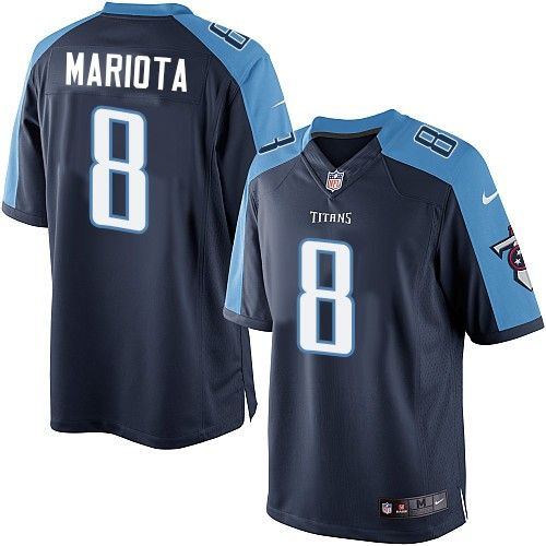 Marcus Mariota Men's Limited Navy Blue Jersey: Nike NFL Tennessee Titans  Alternate #8