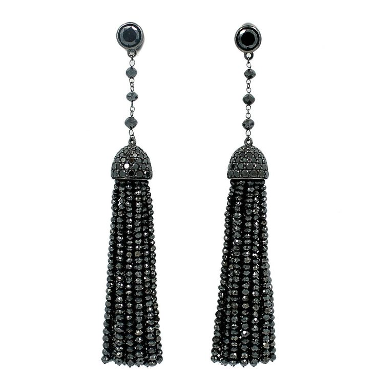 Ivanka Trump Black Diamond Earrings | From a unique collection of vintage dangle earrings at https://www.1stdibs.com/jewelry/earrings/dangle-earrings/