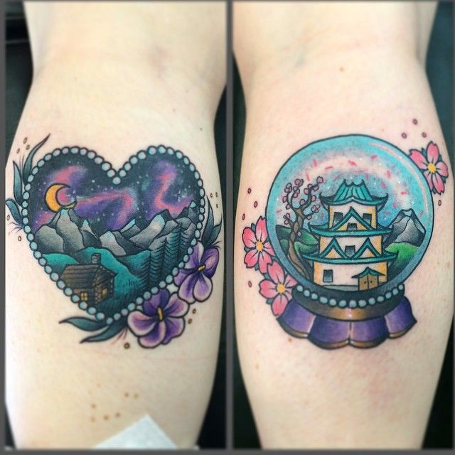 By @melaniemilnetattoos - cute cabin and japan snow globe tattoo  #Padgram