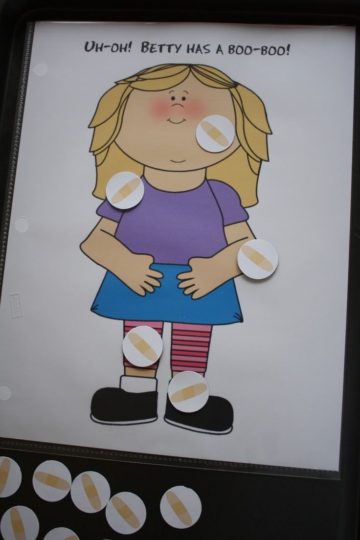 Uh-oh! Where Should the Band-Aid Go? A receptive language activity for PreK and Kinders! FREE :) Repinned by SOS Inc. Resources http://Pinterest.com/sostherapy.