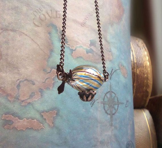 Zeppelin necklace, hot air balloon necklace, fantasy jewelry, steampunk necklace, steampunk jewelry