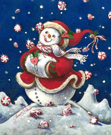 Peppermint Wishes by Janet Stever ~ snowman ~ Christmas