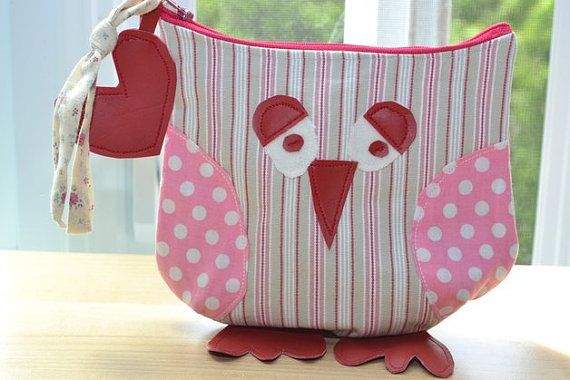 pouch, kit, owl bag, pink, girl, pencil, makeup,pochette, trousse, hibou, sac, rose, fille, crayon, maquillage,