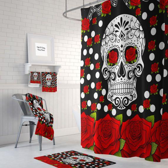 Sugar Skull Shower Curtain , Day Of The Dead , Red Roses , Bath Mat , Bath Towels , Sugar Skull Bath Set