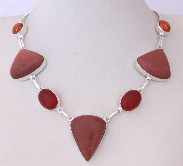 AWESOME BROWN SUN SITARA-LOVELY GENUINE QUARTZ 925 STERLING SILVER NECKLACE T366 #925silverpalace #Charm