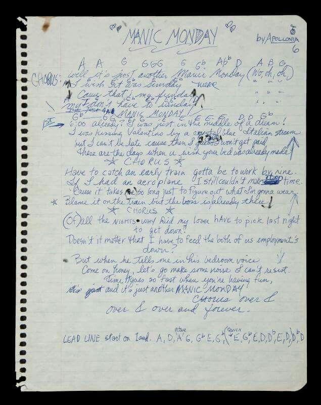 Hand written lyrics to Manic Monday. 1985