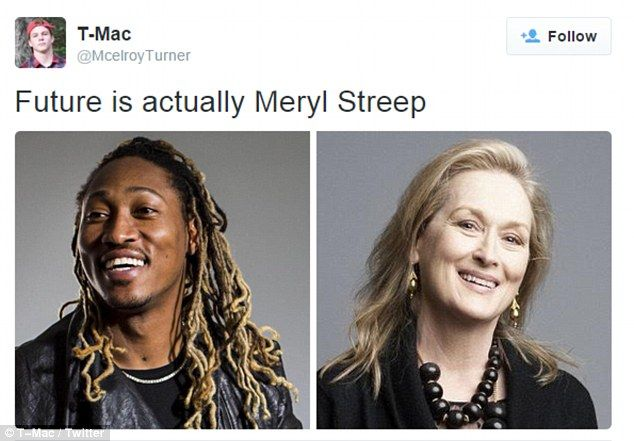 Meryl Streep Really Looks Like Future, and It Will Make Your Jaw Drop: Hilarious Reactions! CELEBRITY NEWS OCT. 20, 2015 AT 6:48PM BY STEPHANIE WEBBER  Read more: http://www.usmagazine.com/celebrity-news/news/meryl-streep-really-looks-like-future-and-it-will-make-your-jaw-drop-20152010#ixzz3pnVzEtP0  Follow us: @usweekly on Twitter | usweekly on Facebook