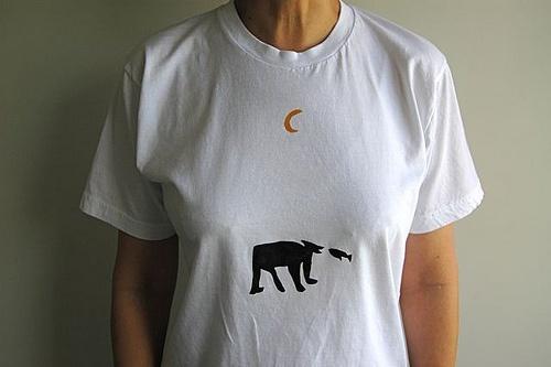 tshirt stencelen met diepvriespapier aan beide kanten van het shirt nacht laten drogen en voila