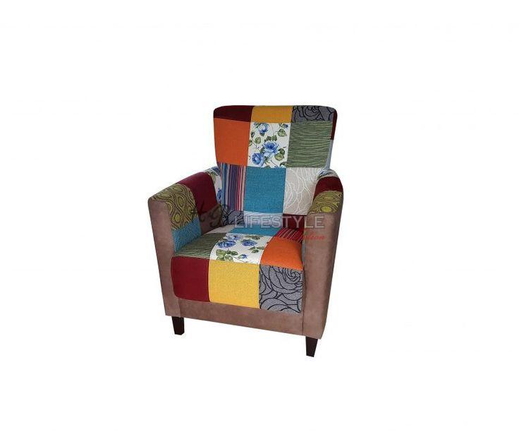 Patchwork fauteuil - HB Lifestyle Collection Model: Rio #patchwork #zitmeubel #kleurenstoel #eigenontwerp #stoelsamenstellen #quilt #interieurspecialist #kleurrijkestoel #kleurenfauteuil