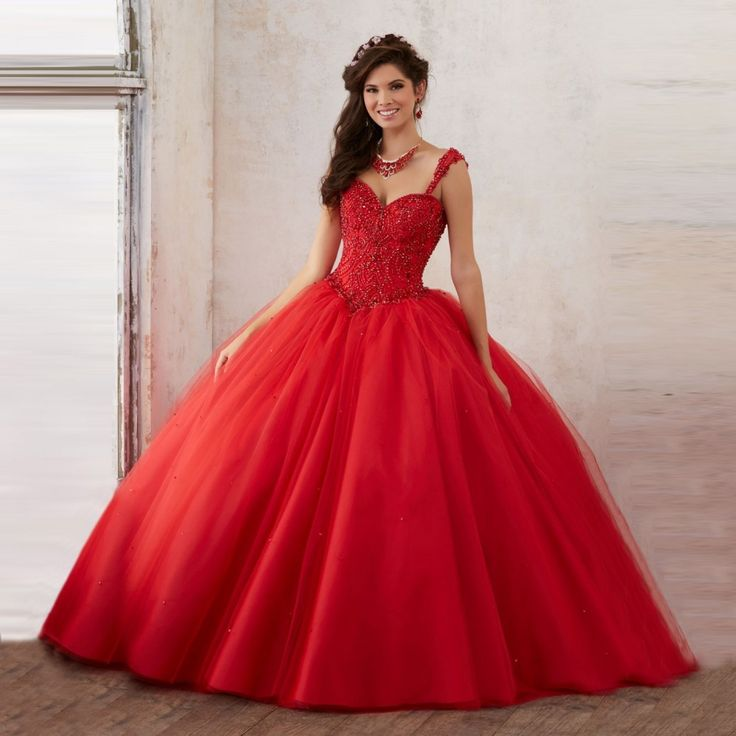 New Design Ball Gown Sweetheart Spaghetti Straps Jewelled Red Quinceanera Dress Puffy Skirt Corset Back 16 Dresses for Girls 15