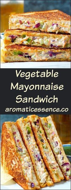 Vegetable mayonnaise sandwiches make for a quick snack or appetizer or even a yummy accompaniment during tea time. Although they aren't the healthiest of sandwiches, it's nice to indulge on some once in a blue moon or serve them during potlucks, parties or even perfect to be made for an occasional brunch. Delicious, creamy and tangy mayo sandwiches, who can resist these? I'm sure everyone makes this at home, as it's really a no-brainer kind of recipe. Chop or shred veggies, th...