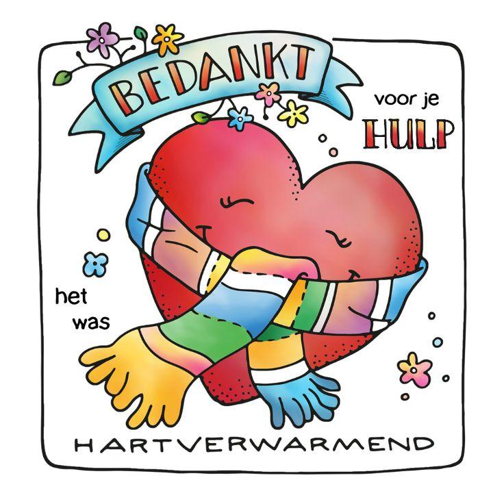 Bedankt hartverwarmend hart, illustratie - handlettering - doodle. Voor hulp, steun of vul zelf maar in :) Verkrijgbaar bij #kaartje2go