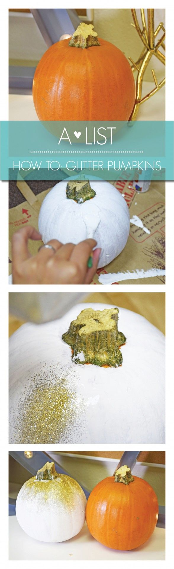 5 easy steps to make the perfect glitter pumpkin - details on the blog! #pumpkin #decor