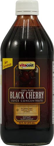 Vitacost 100% Pure Black Cherry Juice Concentrate -- 16 fl oz - Vitacost #homeopathy - My wife & I have enjoyed the benefits of a tablespoon of Pure Black Cherry Juice for years since we learned that it cleanses the liver and kidneys of Purine impaction which allows purines to be flushed from our bodies instead of building up in our toe joints, ankles giving false arthritis distress pain. Purine crystals are the cause of a joint pain filled life! We'll take a dose daily, forever…