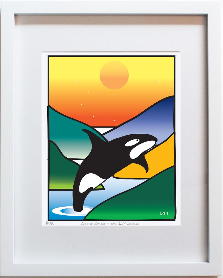 Orca in the Islands - orange background. Original art by Vancouver artist Ivan Solomon. Also available in a smaller 8x10in white frame and purple background on our website.