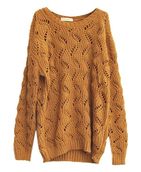 Hollow Out Batwing Sleeves Sweater - Clothing