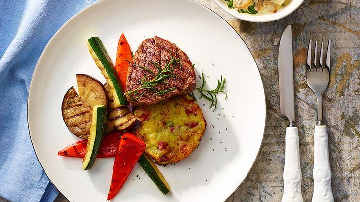 Steak z hovädzej sviečkovice so zemiakovými rösti