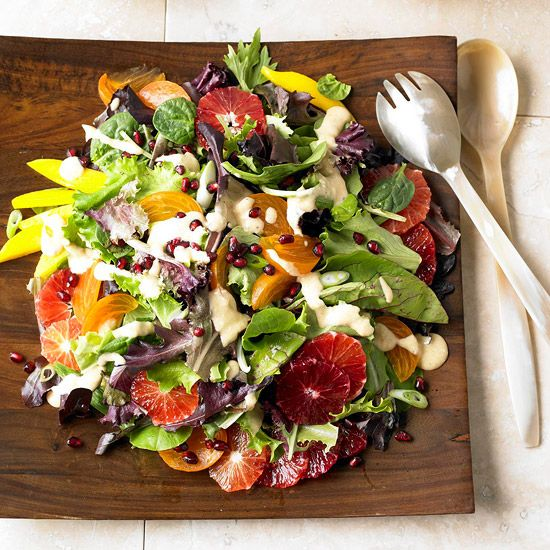 Enjoy in-season flavors with this Persimmon, Blood Orange and Pomegranate Salad. More pomegranate recipes: http://www.bhg.com/recipes/party/seasonal/pomegranate-recipes/?socsrc=bhgpin121212persimmonsalad=8