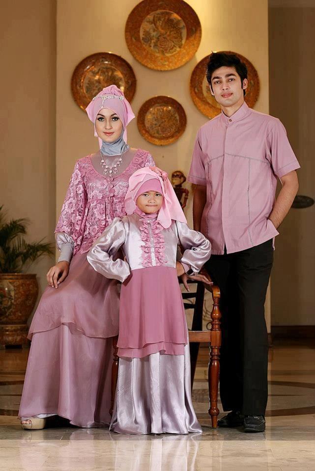 Long Dress baju muslim pesta Dusty Pink Sarimbit Keluarga