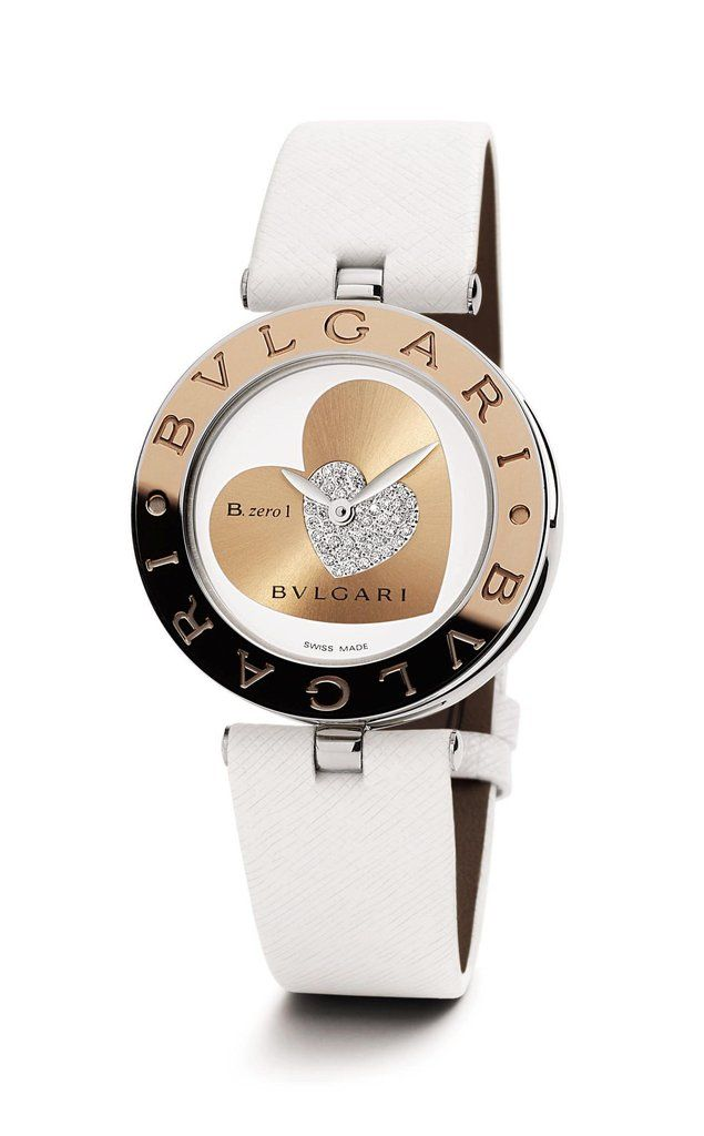 BULGARI - B.Zero1 Steel and 18kt Pink Gold Ladies Watch -101423- with white dial, heart motif set with Diamonds, leather strap, Quartz movement