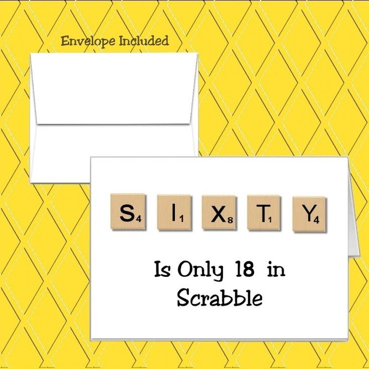 Sixty Scrabble Design. It is made in the USA recyclable and acid free. All our cards are manufactured by hand in a smoke free environment. | eBay!