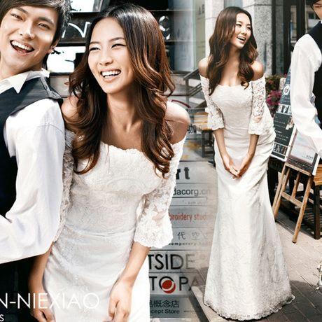 王薇薇泡泡袖公主长袖鱼尾婚纱 一字肩齐地显瘦婚纱礼服 6037-淘宝网