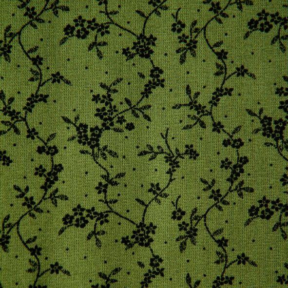 Bavlněná látka Drobné zelené kytičky a větvičky na zelené