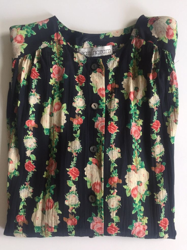 1970s Blouse JEAN INGRAM Black Rose Pattern Pink Beige White Loose Fit Size Medium Made in the USA by BROCANTEBedStuy on Etsy