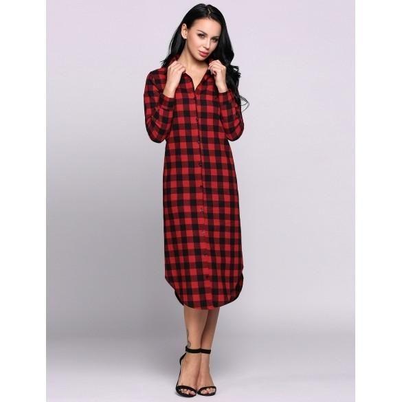 Long Sleeve Turn-down Collar Checks Asymmetrical Maxi Shirt Casual Dress