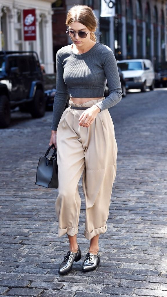 Tall-Girl Tip: Rock one voluminous piece at a time like Gigi Hadid's pants here