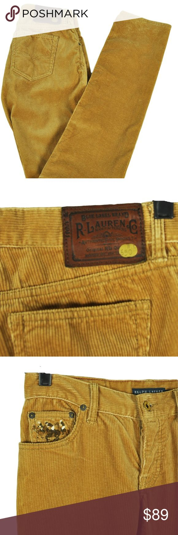 "RALPH LAUREN 27 Thompson 650 Skinny Leg Corduroy RALPH LAUREN Thompson 650 Corduroy Pants, Size 27 New with tags MSRP: $245.00 ""Thompson 650"" Brand: Ralph Lauren Color: Tan Material: 99% Cotton, 1% Elastane Button fly 5 Pocket Skinny leg Polo horses on right front pocket Measurements: taken flat and across Inseam: 33.5"", Waist: 14"", Rise: 7"" Inventory # 124 No Trades Ralph Lauren Pants Skinny"