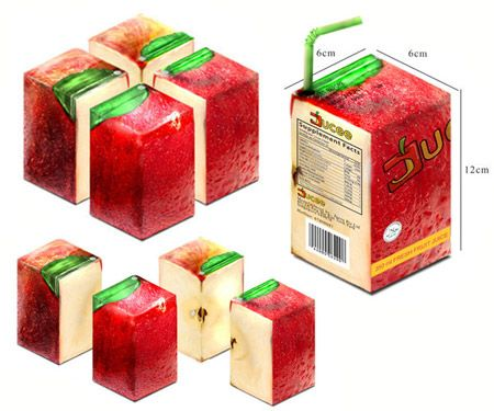 This juicy packaging for a delicious fruit juice uses the fruit skin as the main part of its design.