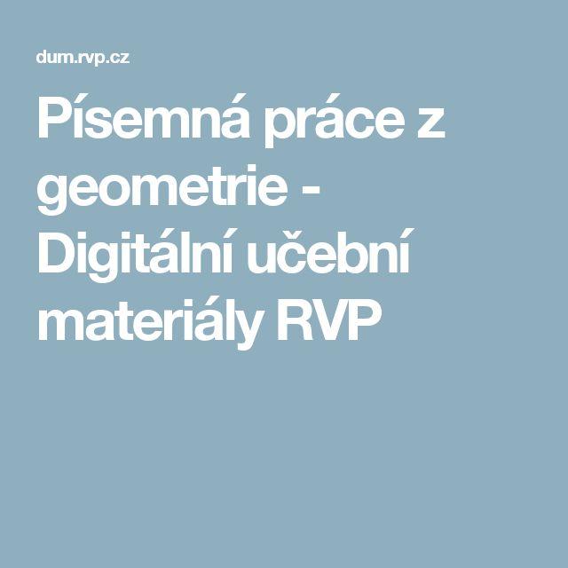 Písemná práce z geometrie - Digitální učební materiály RVP