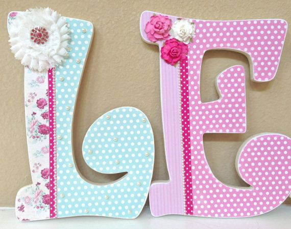 Custom Nursery Letters, Baby Name, Shabby Chic, Girl Nursery Decor, Baby Shower Gift, Hanging Wooden Wall Letters, Custom Name Letters on Etsy, $20.00