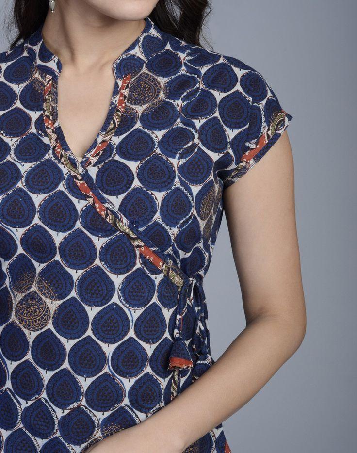 Fabindia.com | Cotton Printed Anghrakha Contrast Trim Long Kurta