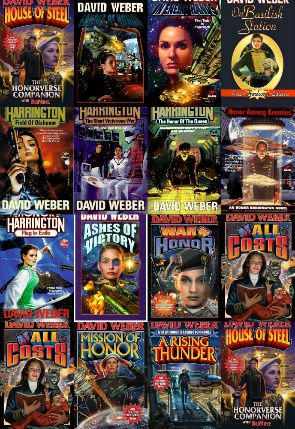 "David Weber - Honor Harrington series in order.  I'm reading ""Honor Among Enemies"" now, 12/8/13"
