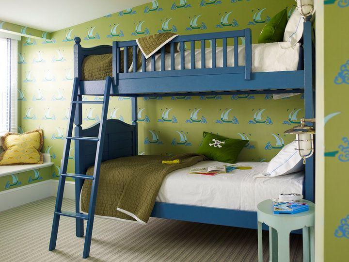 Katie Ridder: Super sweet blue and green boys' bedroom with blue bunk beds with blue bunk bed ladder. ...