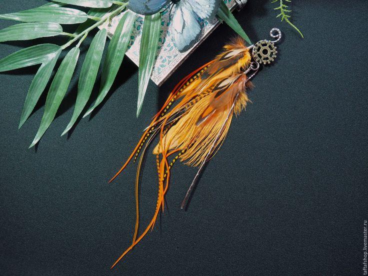 Шпилька для волос, с перьями - Солнце на юге, оранжевый, спимпанк - перо, перья, перья в волосы